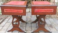 Pair Red Leather Top Dropleaf Coffee Tables